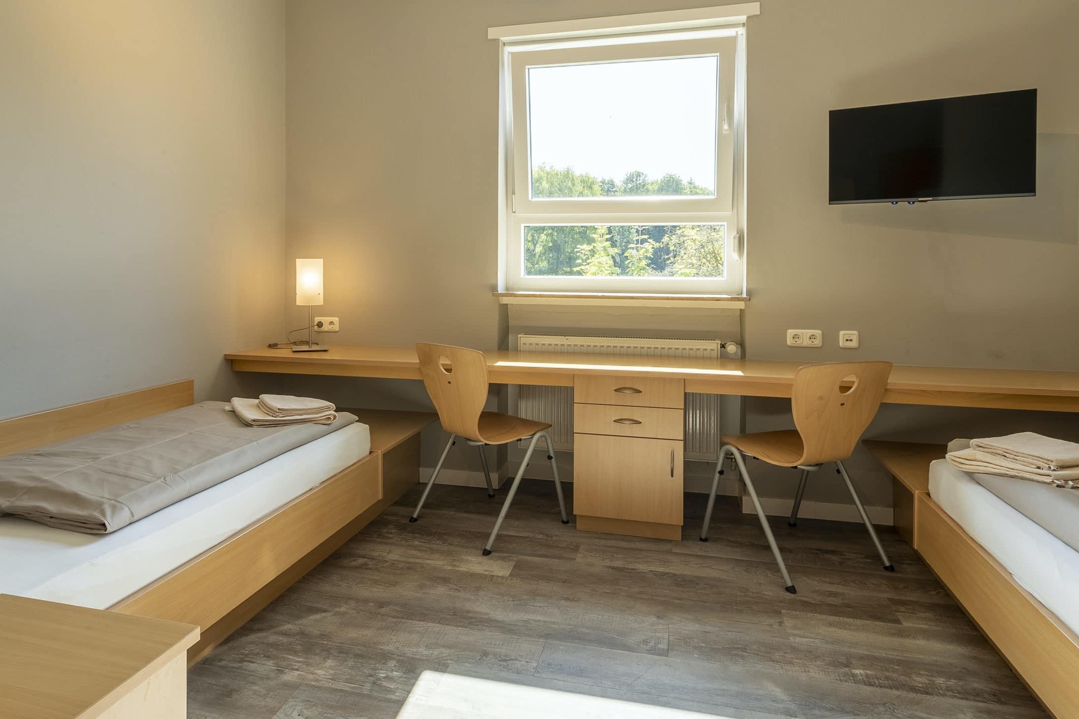 Schönes Doppelzimmer im Sporthotel Mittelhessen während Fussball Trainingslager